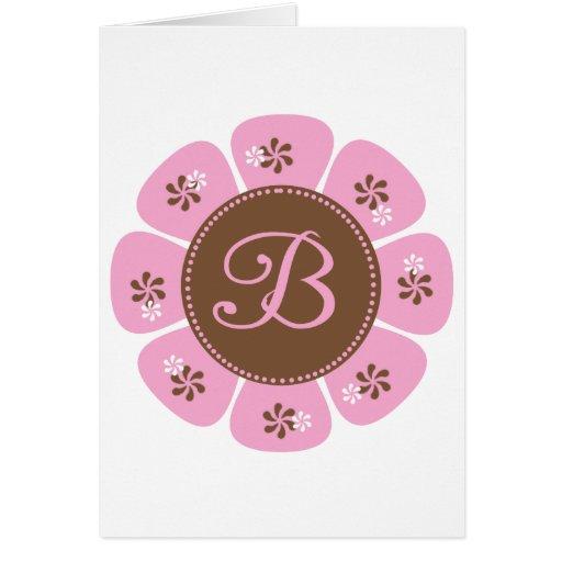 Brown and Pink Monogram B Cards