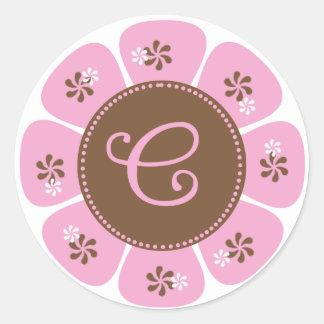Brown and Pink Monogram C Round Sticker