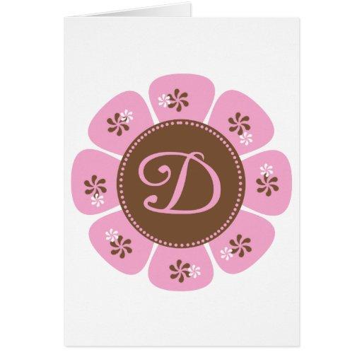 Brown and Pink Monogram D Greeting Card