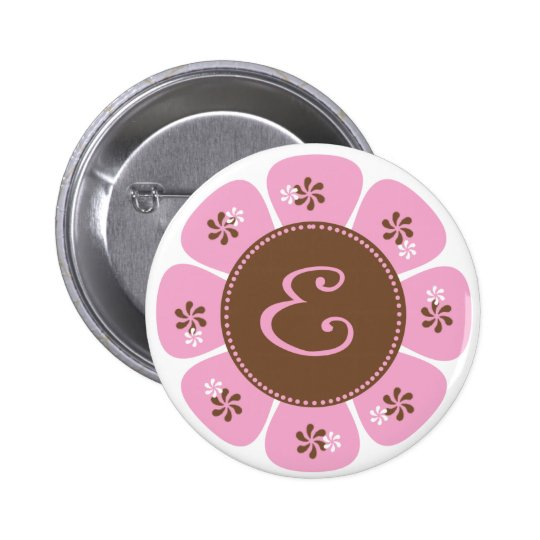 Brown and Pink Monogram E 6 Cm Round Badge