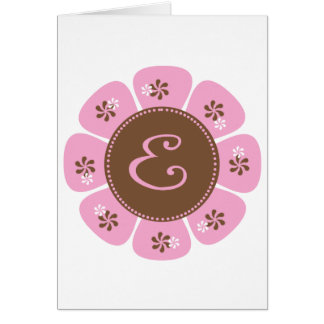 Brown and Pink Monogram E Greeting Card