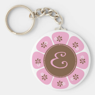 Brown and Pink Monogram E Basic Round Button Key Ring