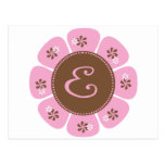 Brown and Pink Monogram E Post Card