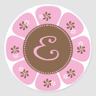 Brown and Pink Monogram E Sticker