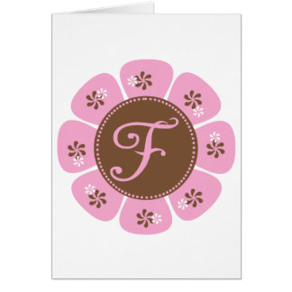 Brown and Pink Monogram F Card