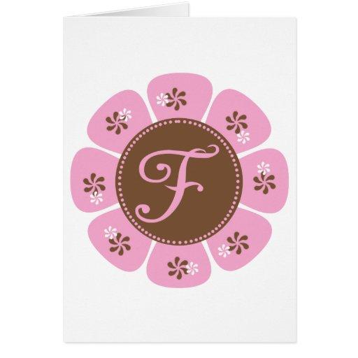 Brown and Pink Monogram F Card