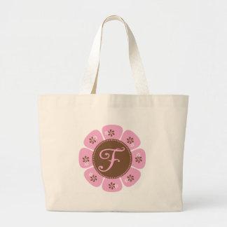 Brown and Pink Monogram F Large Tote Bag