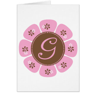 Brown and Pink Monogram G Card