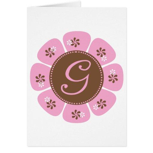 Brown and Pink Monogram G Card