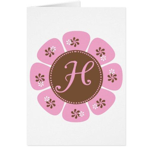 Brown and Pink Monogram H Greeting Card