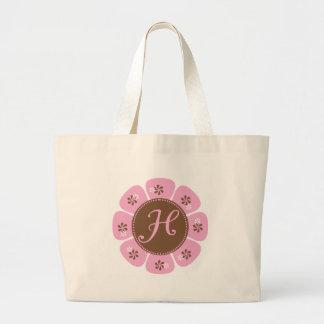 Brown and Pink Monogram H Large Tote Bag