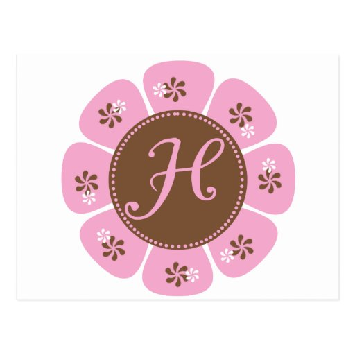 Brown and Pink Monogram H Post Cards