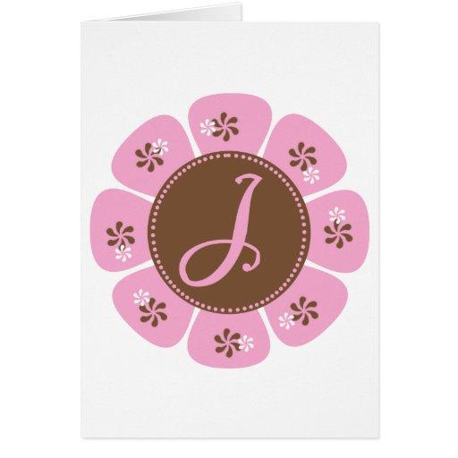 Brown and Pink Monogram J Greeting Card