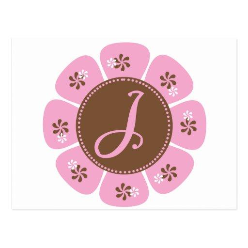 Brown and Pink Monogram J Postcards