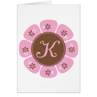 Brown and Pink Monogram K Greeting Cards