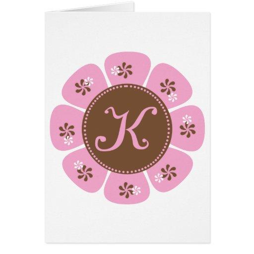 Brown and Pink Monogram K Greeting Cards