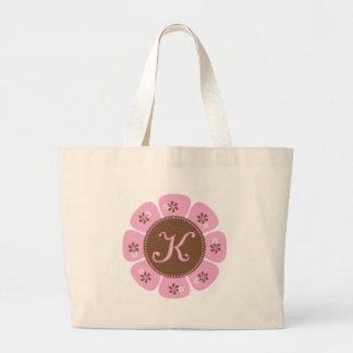 Brown and Pink Monogram K Large Tote Bag