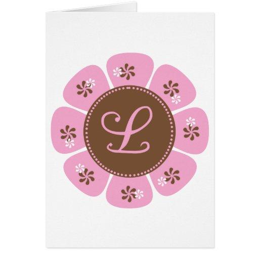 Brown and Pink Monogram L Greeting Card