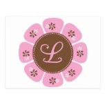 Brown and Pink Monogram L Postcard