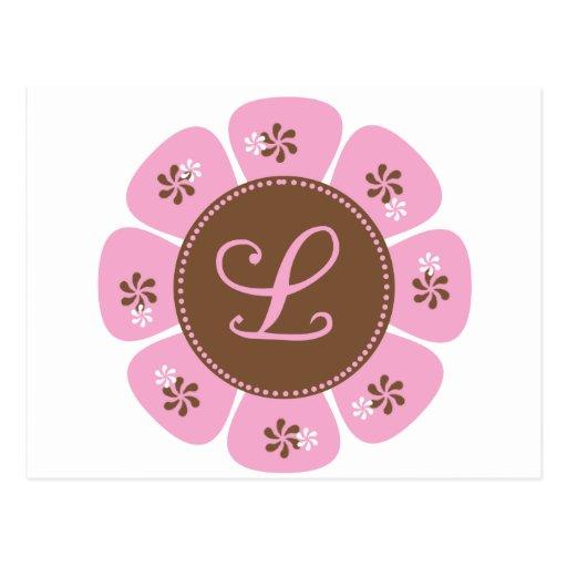 Brown and Pink Monogram L Post Cards