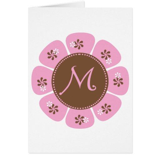 Brown and Pink Monogram M Greeting Card