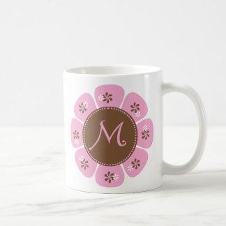Brown and Pink Monogram M Coffee Mug