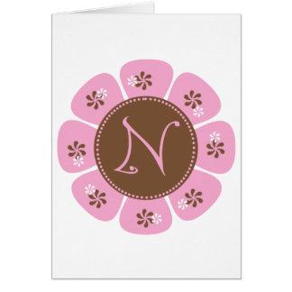 Brown and Pink Monogram N Greeting Card