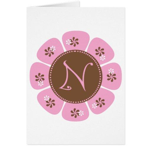Brown and Pink Monogram N Card