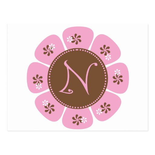 Brown and Pink Monogram N Postcard