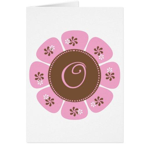 Brown and Pink Monogram O Card