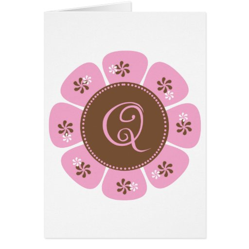 Brown and Pink Monogram Q Greeting Cards