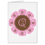 Brown and Pink Monogram Q Greeting Card