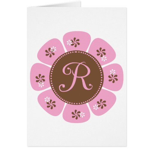 Brown and Pink Monogram R Greeting Card