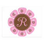 Brown and Pink Monogram R Post Cards