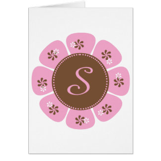 Brown and Pink Monogram S Greeting Cards