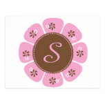 Brown and Pink Monogram S Post Cards