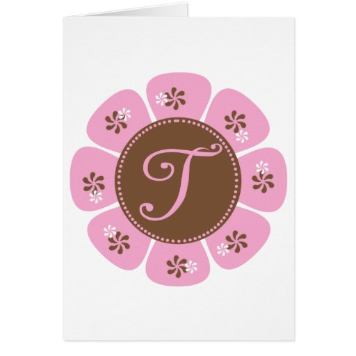 Brown and Pink Monogram T Card