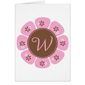 Brown and Pink Monogram W Greeting Card