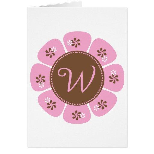 Brown and Pink Monogram W Greeting Card
