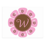Brown and Pink Monogram W Post Card