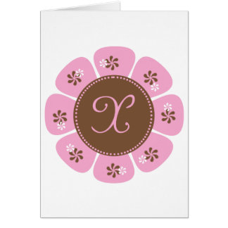 Brown and Pink Monogram X Cards