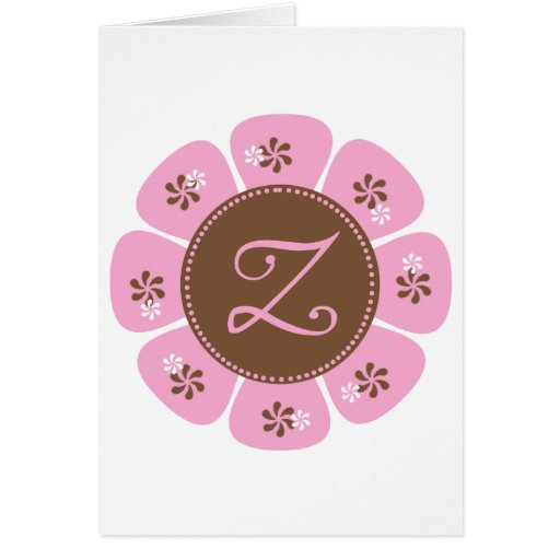 Brown and Pink Monogram Z Cards