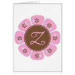 Brown and Pink Monogram Z Greeting Card