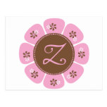 Brown and Pink Monogram Z Post Cards