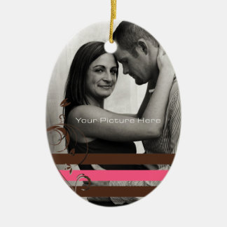 Brown and Pink Photo Engagement Christmas Ornament