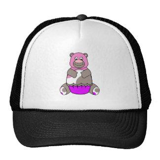 Brown And Pink Polkadot Bear Cap