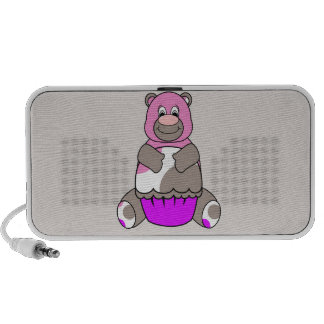 Brown And Pink Polkadot Bear Mp3 Speakers