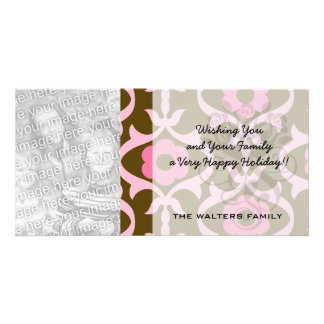 brown and pink spring flowers damask photo cards