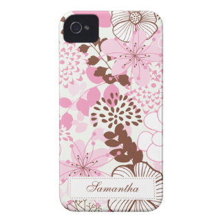 Brown and Pink Spring Garden iPhone 4 Case
