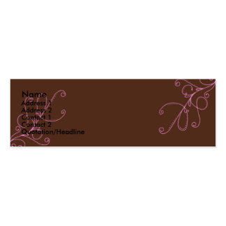 Brown and Pink swirls with Plan Brown Back Business Card Templates